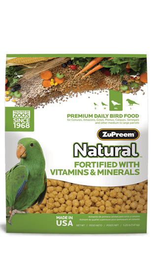 Zupreem Natural With Added Vitamins & Minerals For Medium To Large Birds 1 Kgs